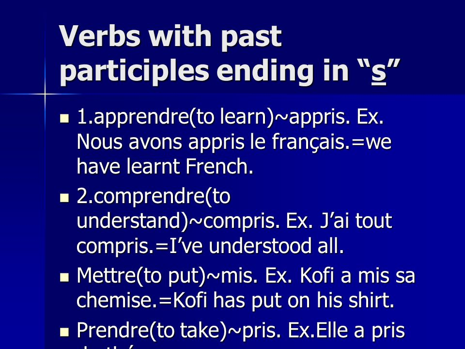 Verbs with past participles ending in s