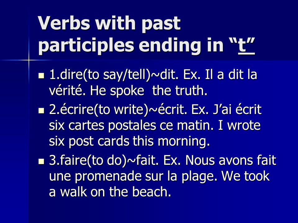 Verbs with past participles ending in t
