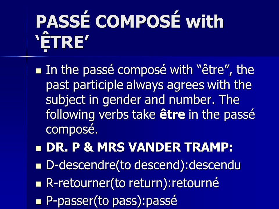 PASSÉ COMPOSÉ with 'ỆTRE'