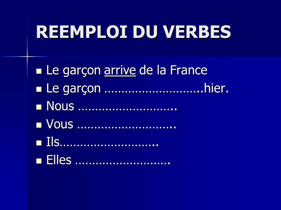 REEMPLOI DU VERBES Le garçon arrive de la France