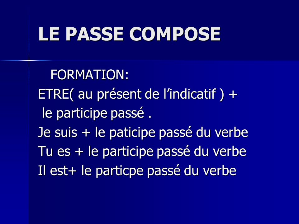 LE PASSE COMPOSE FORMATION: ETRE( au présent de l'indicatif ) +