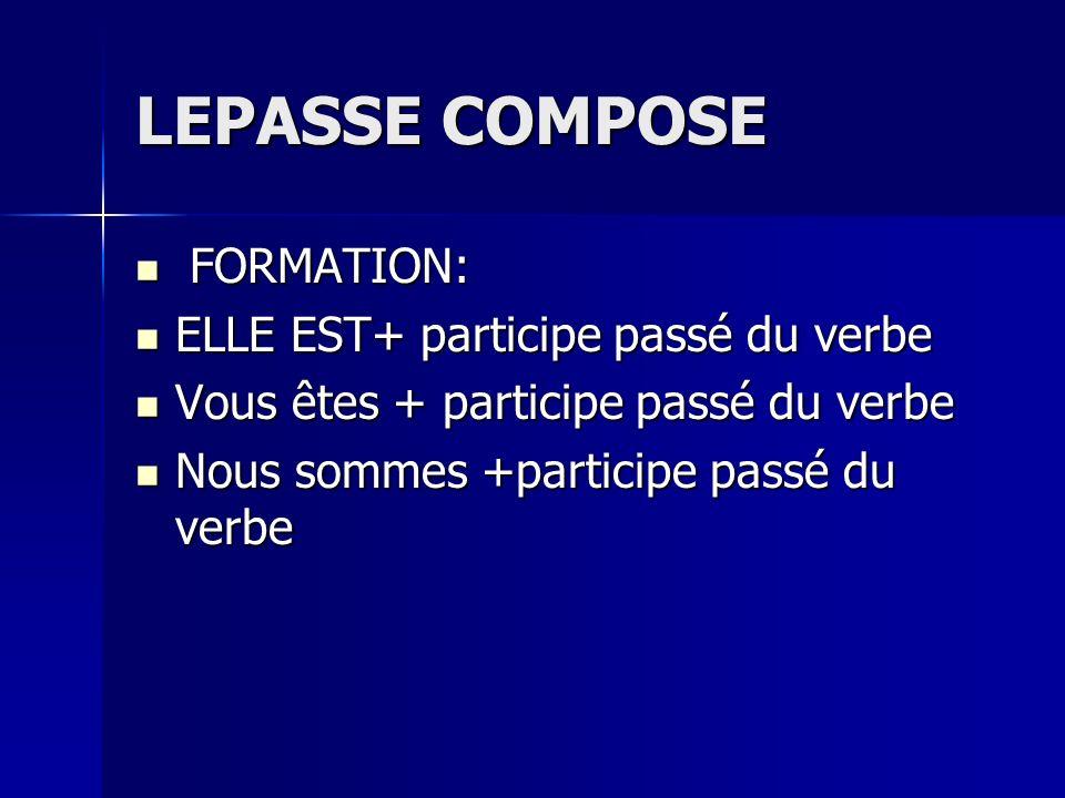 LEPASSE COMPOSE FORMATION: ELLE EST+ participe passé du verbe