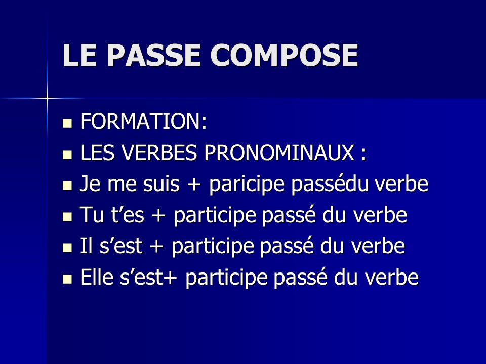 LE PASSE COMPOSE FORMATION: LES VERBES PRONOMINAUX :