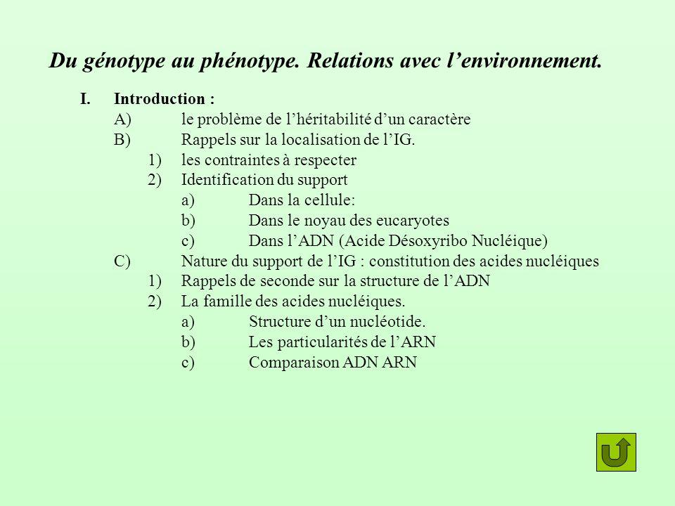 Du génotype au phénotype. Relations avec l'environnement.
