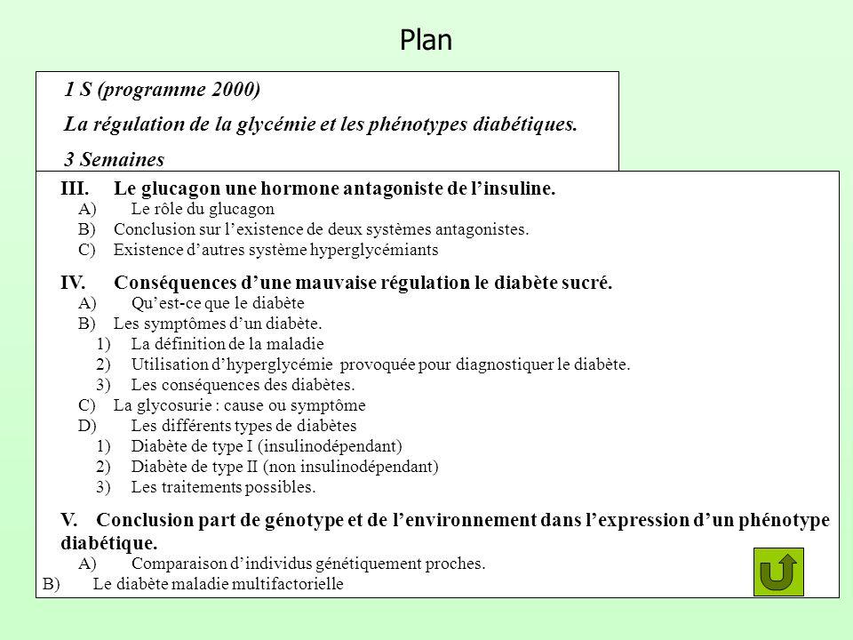 Plan 1 S (programme 2000) La régulation de la glycémie et les phénotypes diabétiques. 3 Semaines.
