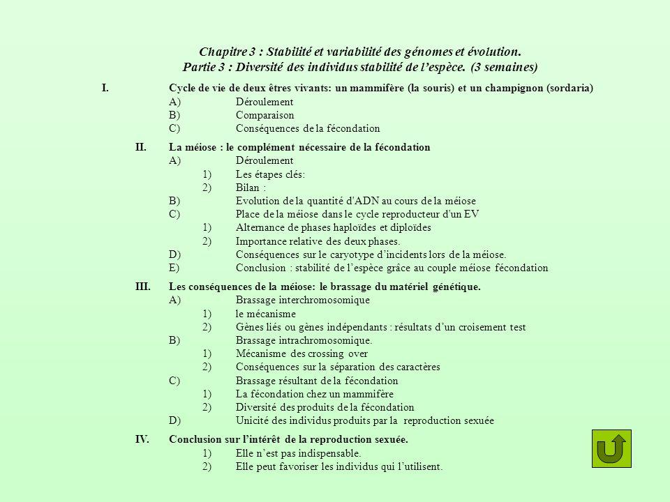 Chapitre 3 : Stabilité et variabilité des génomes et évolution