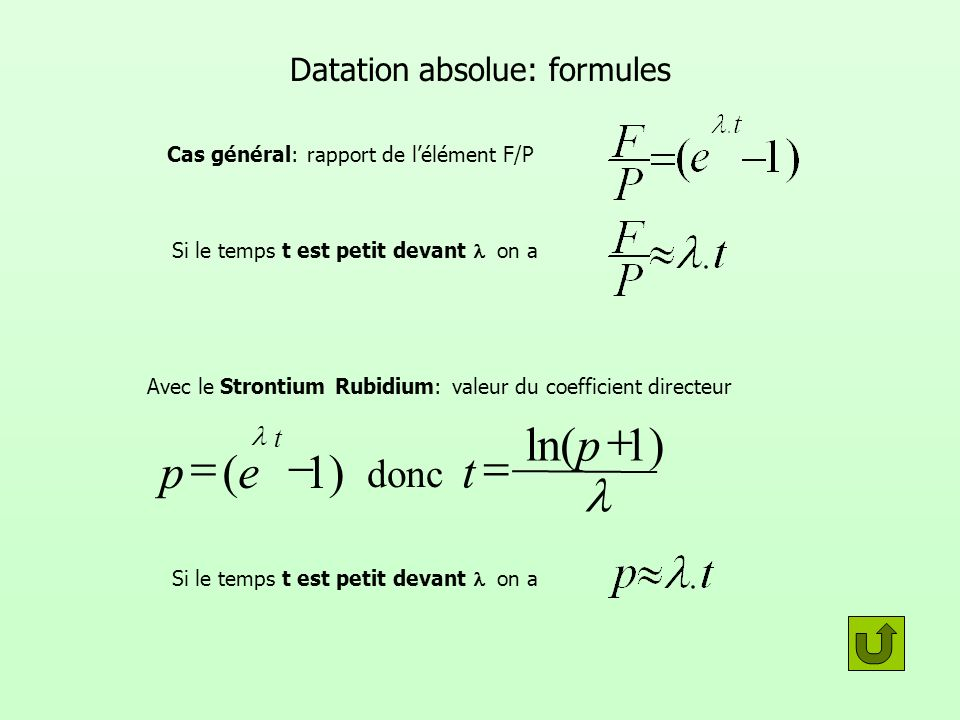 Datation absolue: formules
