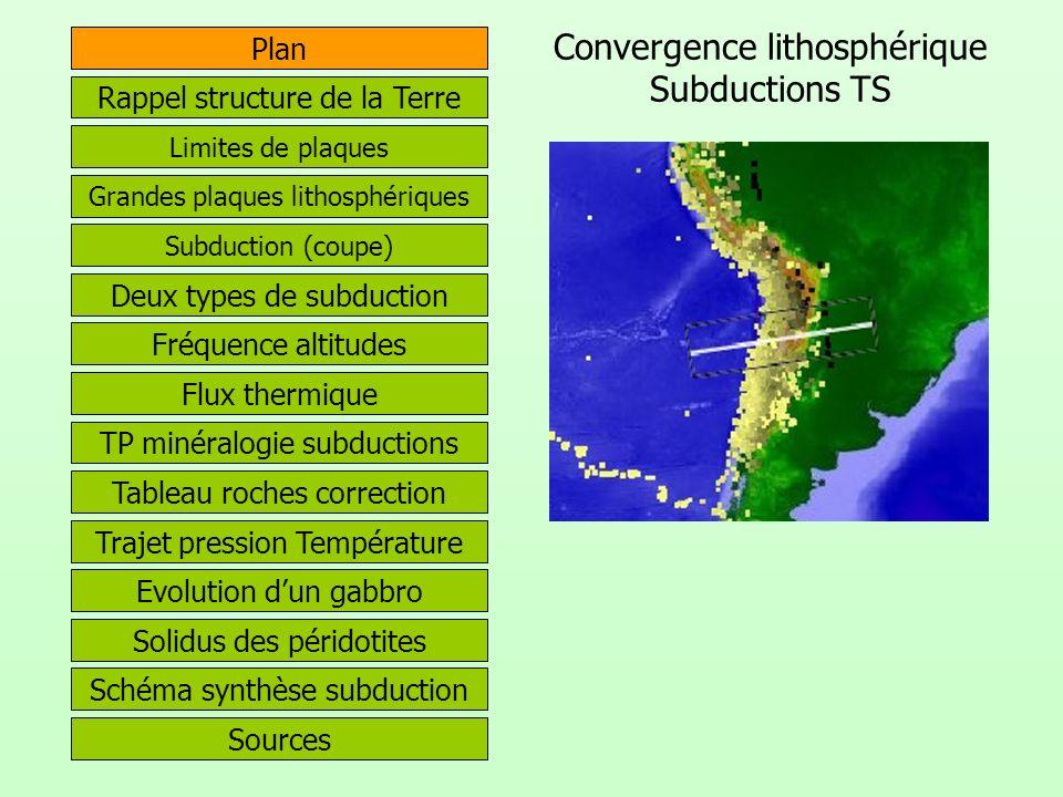 Convergence lithosphérique Subductions TS