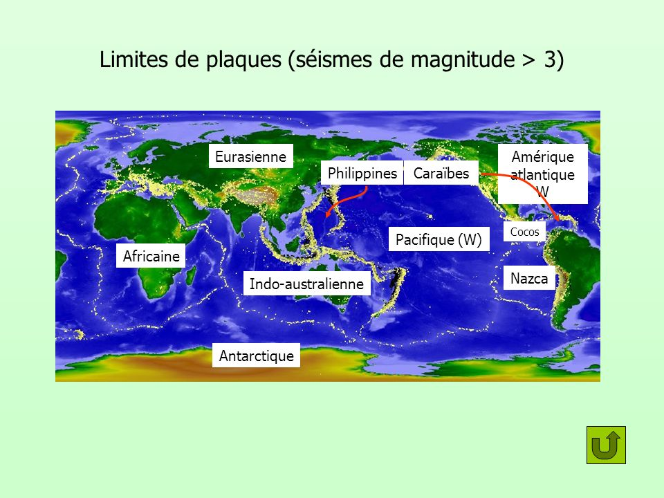 Limites de plaques (séismes de magnitude > 3)