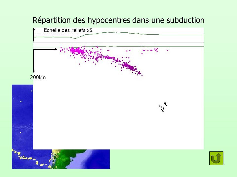 Répartition des hypocentres dans une subduction