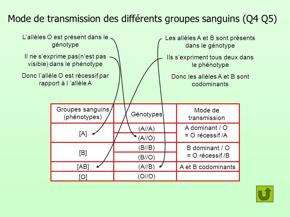 Mode de transmission des différents groupes sanguins (Q4 Q5)