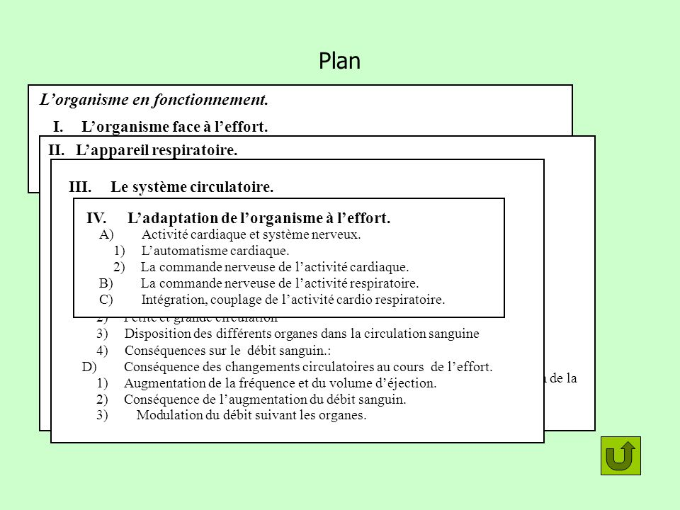 Plan L'organisme en fonctionnement. I. L'organisme face à l'effort.