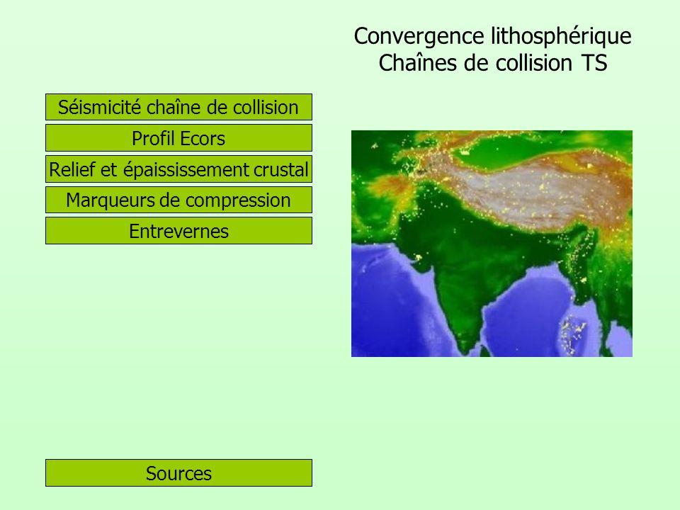 Convergence lithosphérique Chaînes de collision TS
