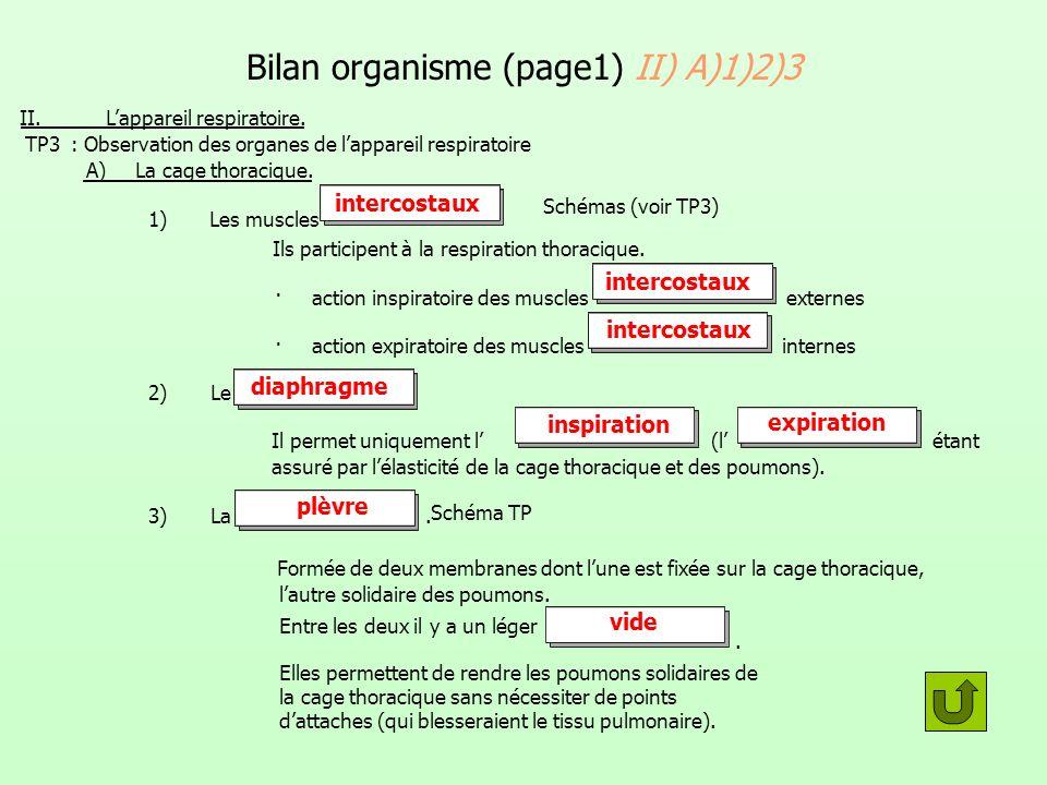 Bilan organisme (page1) II) A)1)2)3