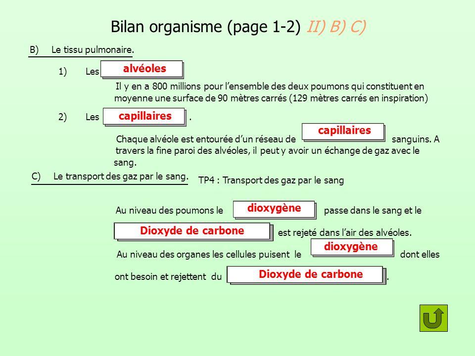Bilan organisme (page 1-2) II) B) C)