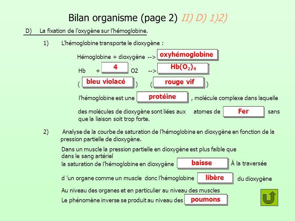Bilan organisme (page 2) II) D) 1)2)