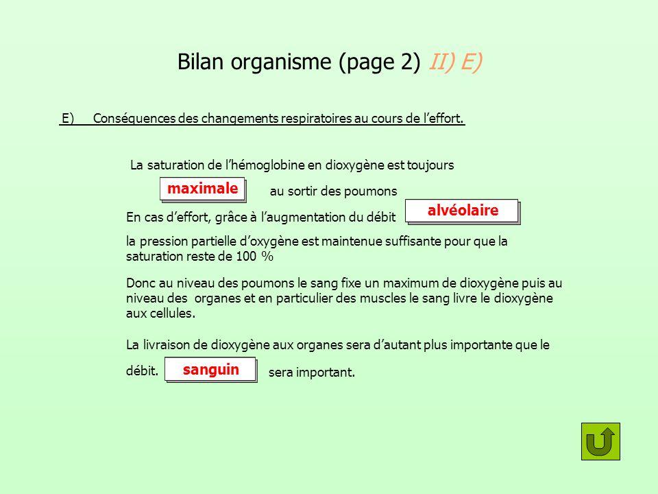Bilan organisme (page 2) II) E)