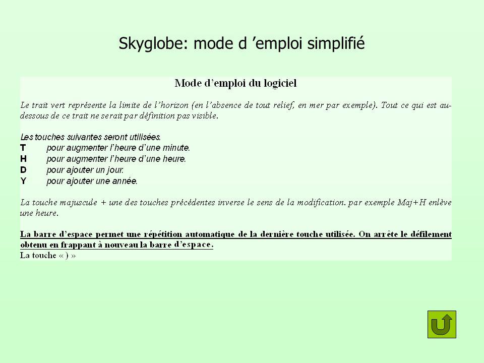 Skyglobe: mode d 'emploi simplifié