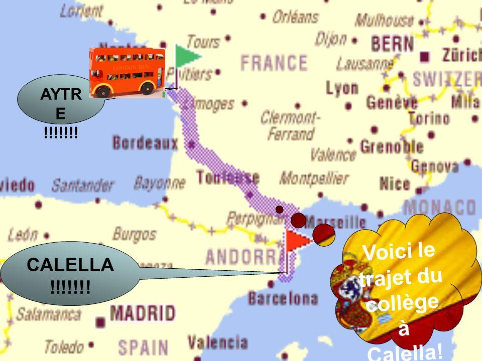 Voici le trajet du collège à Calella!