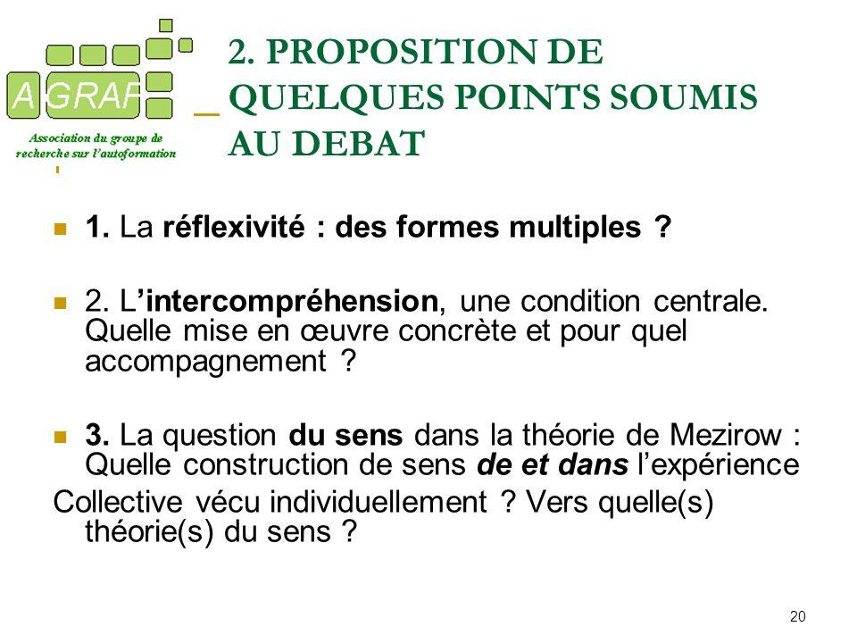2. PROPOSITION DE QUELQUES POINTS SOUMIS AU DEBAT