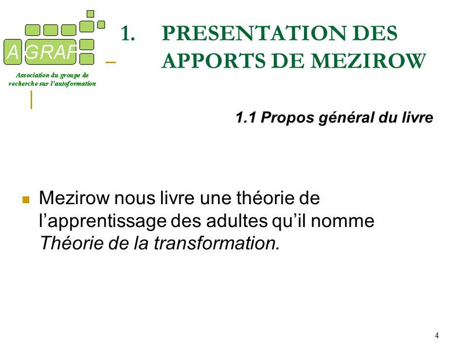 PRESENTATION DES APPORTS DE MEZIROW
