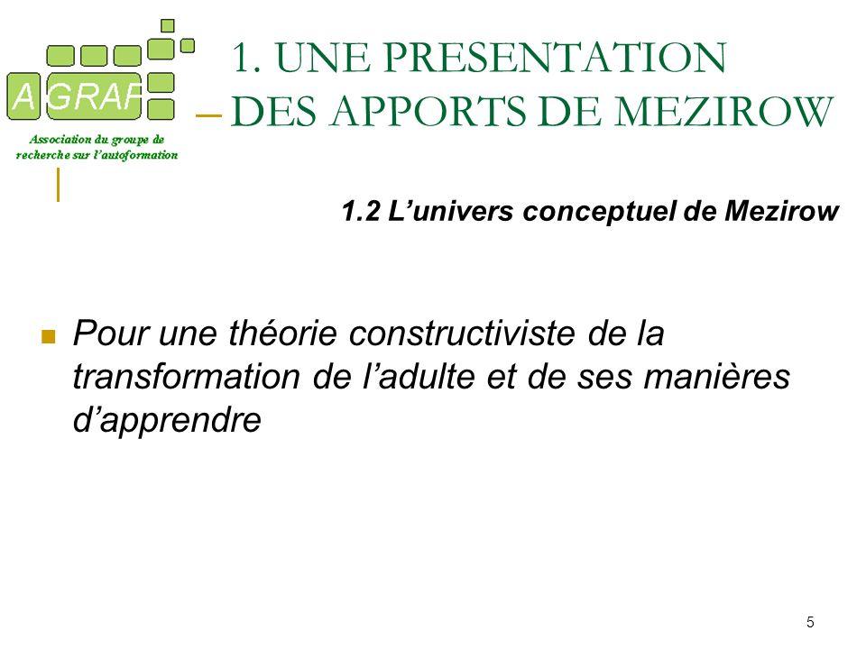 1. UNE PRESENTATION DES APPORTS DE MEZIROW