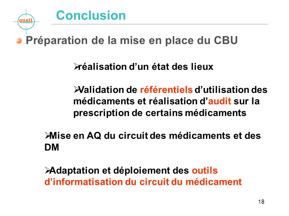 Conclusion Préparation de la mise en place du CBU