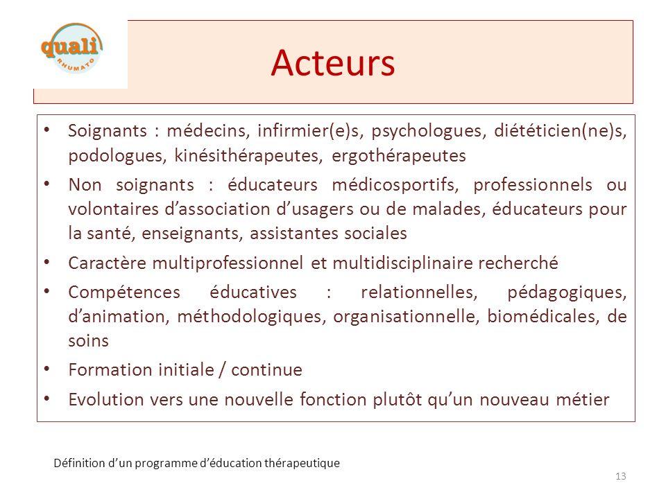 Acteurs Soignants : médecins, infirmier(e)s, psychologues, diététicien(ne)s, podologues, kinésithérapeutes, ergothérapeutes.