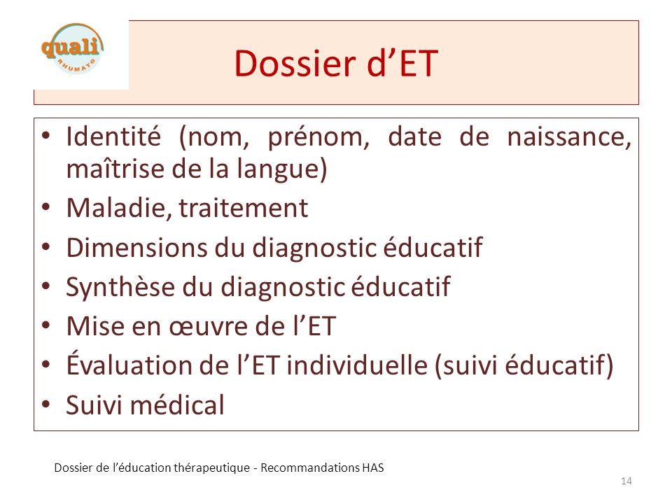 Dossier d'ETIdentité (nom, prénom, date de naissance, maîtrise de la langue) Maladie, traitement. Dimensions du diagnostic éducatif.