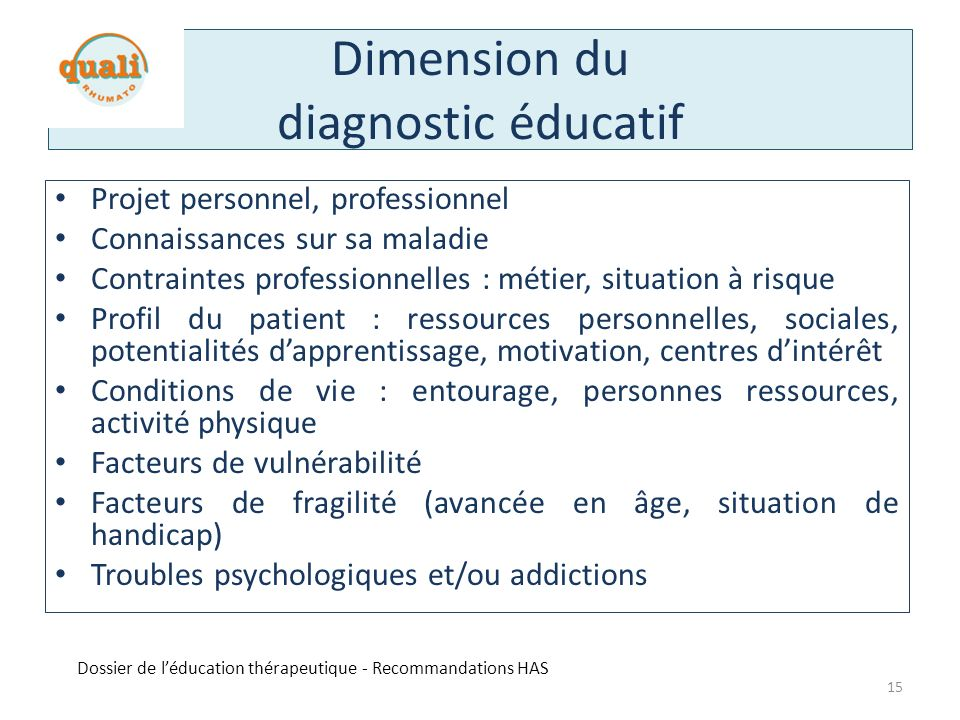 Dimension du diagnostic éducatif