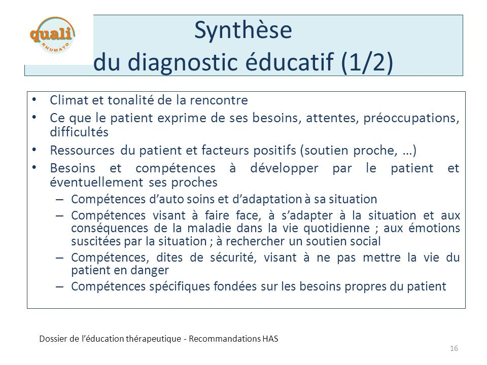 Synthèse du diagnostic éducatif (1/2)