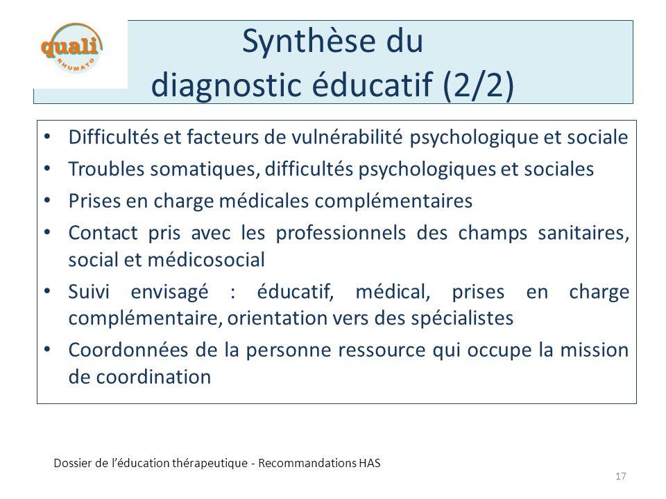 Synthèse du diagnostic éducatif (2/2)