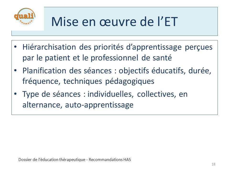Mise en œuvre de l'ET Hiérarchisation des priorités d'apprentissage perçues par le patient et le professionnel de santé.