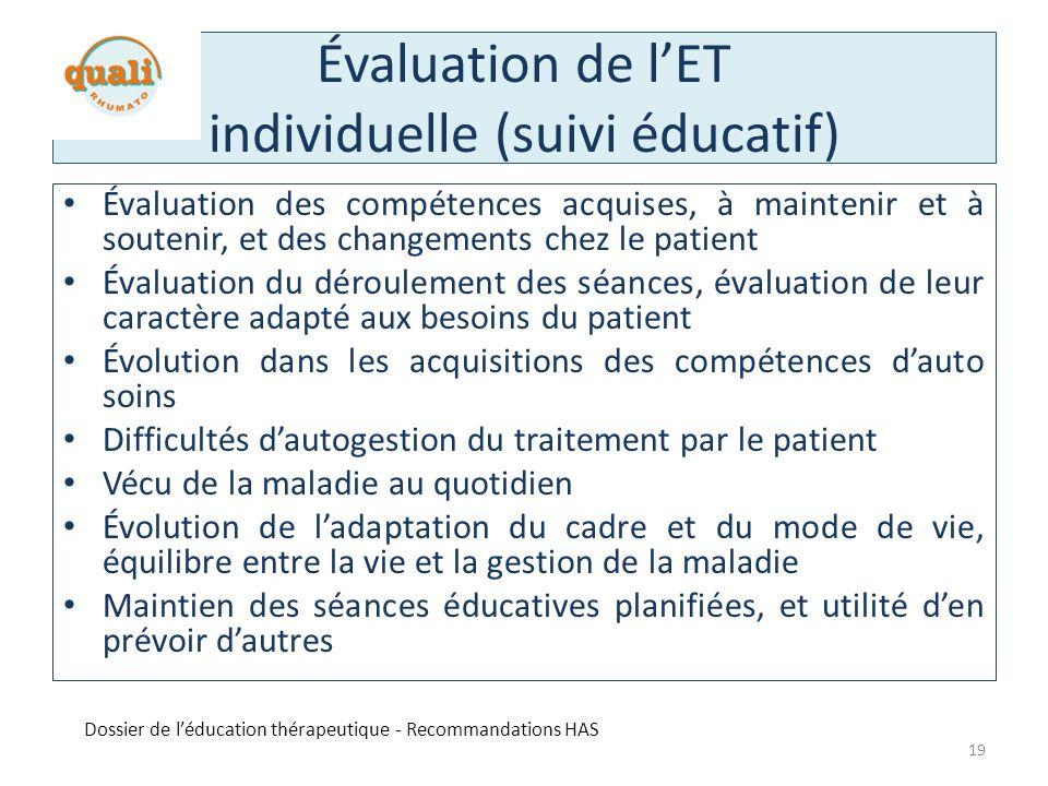 Évaluation de l'ET individuelle (suivi éducatif)