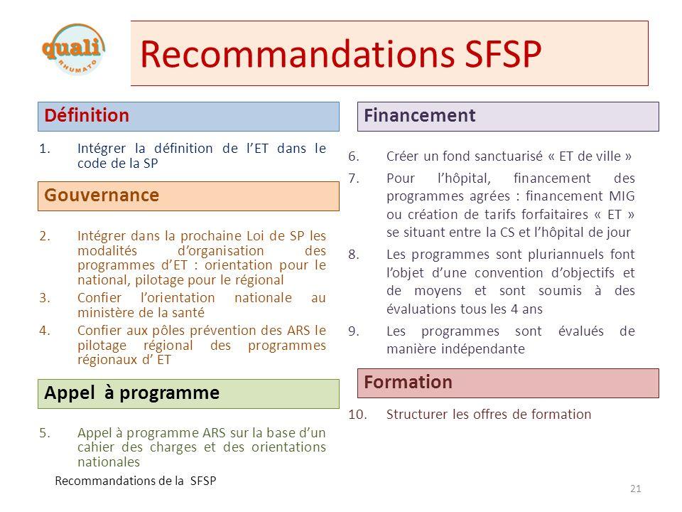 Recommandations SFSP Définition Financement Gouvernance Formation