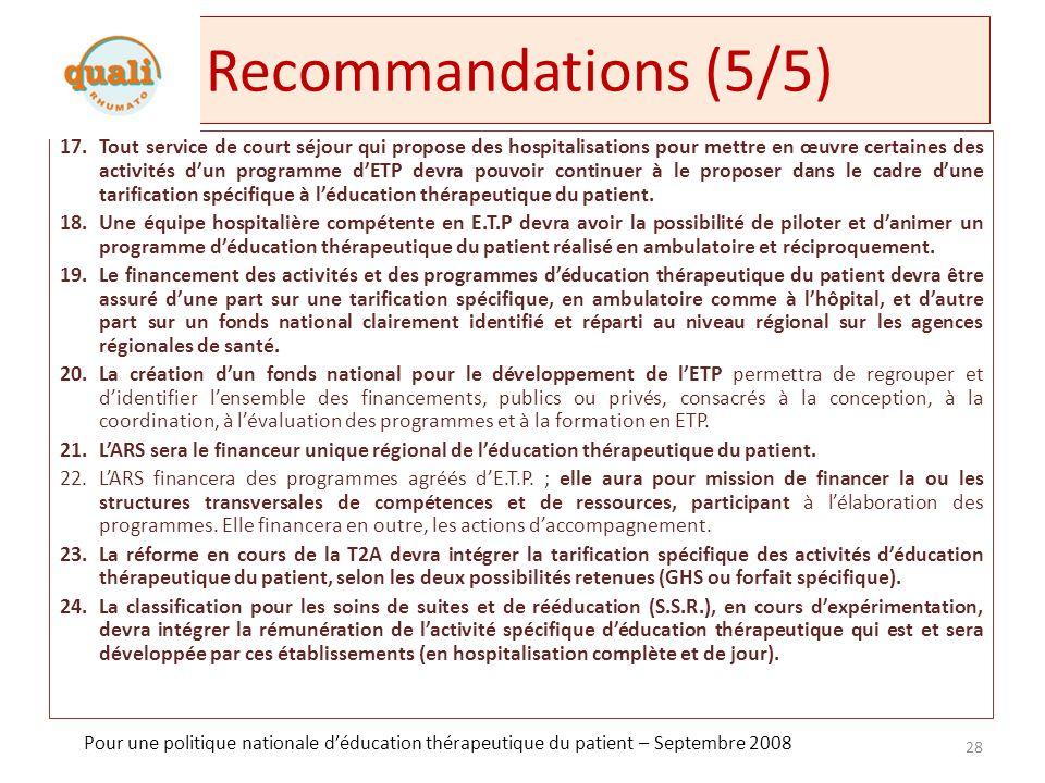 Recommandations (5/5)