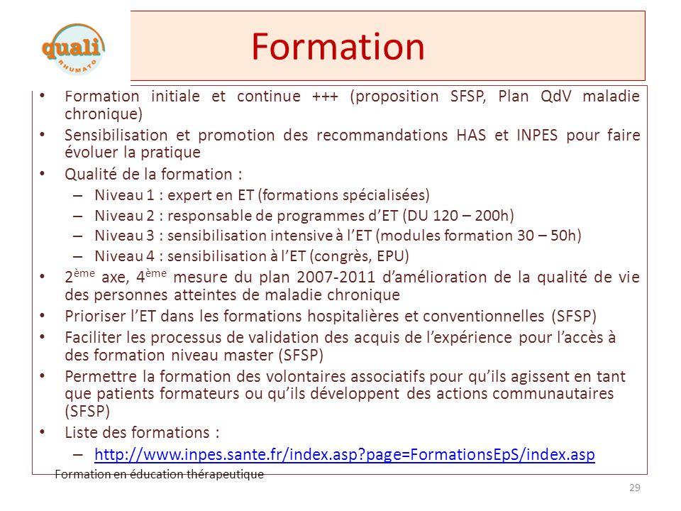 Formation Formation initiale et continue +++ (proposition SFSP, Plan QdV maladie chronique)