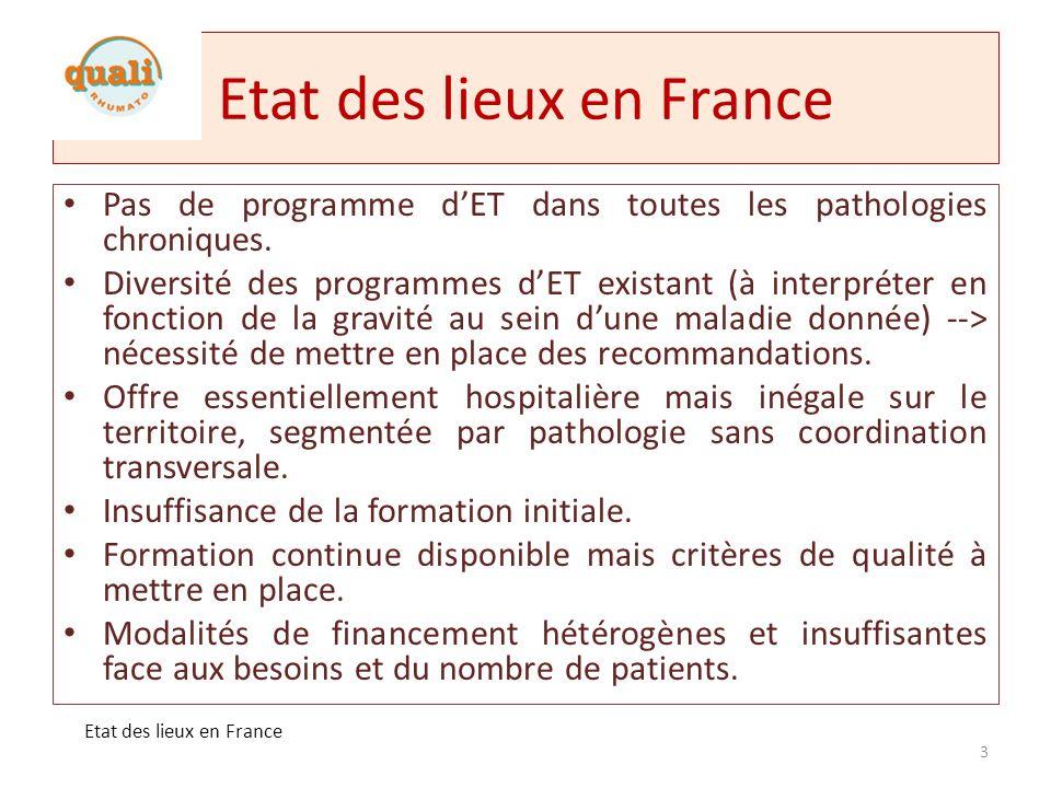 Etat des lieux en France