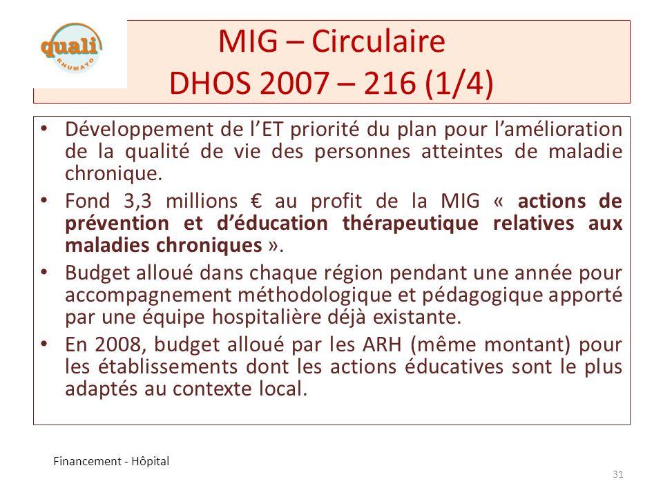 MIG – Circulaire DHOS 2007 – 216 (1/4)