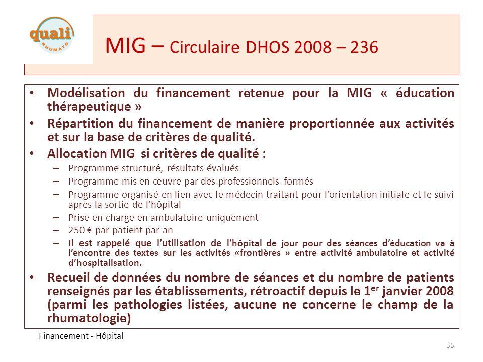 MIG – Circulaire DHOS 2008 – 236 Modélisation du financement retenue pour la MIG « éducation thérapeutique »