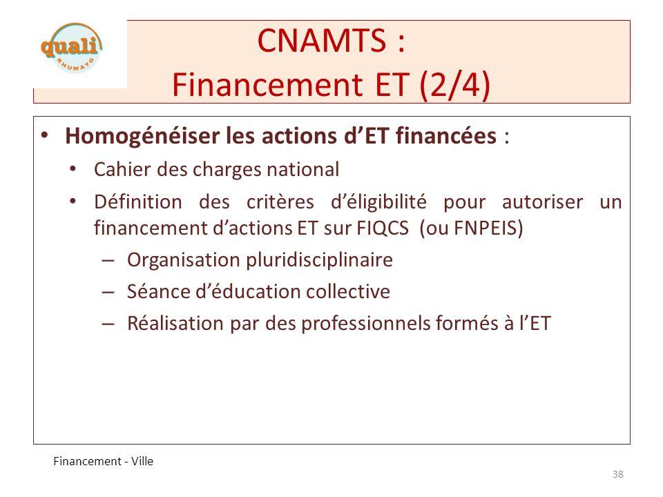 CNAMTS : Financement ET (2/4)