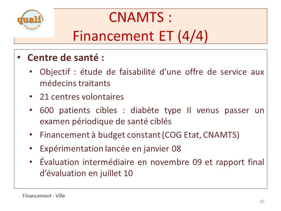 CNAMTS : Financement ET (4/4)