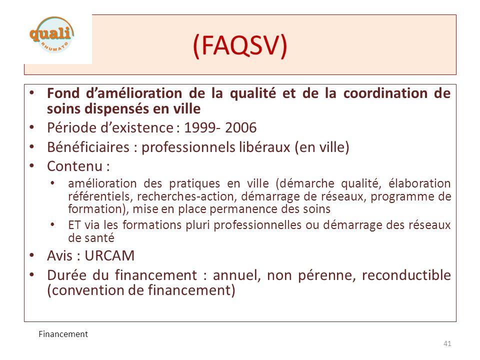 (FAQSV) Fond d'amélioration de la qualité et de la coordination de soins dispensés en ville. Période d'existence : 1999- 2006.