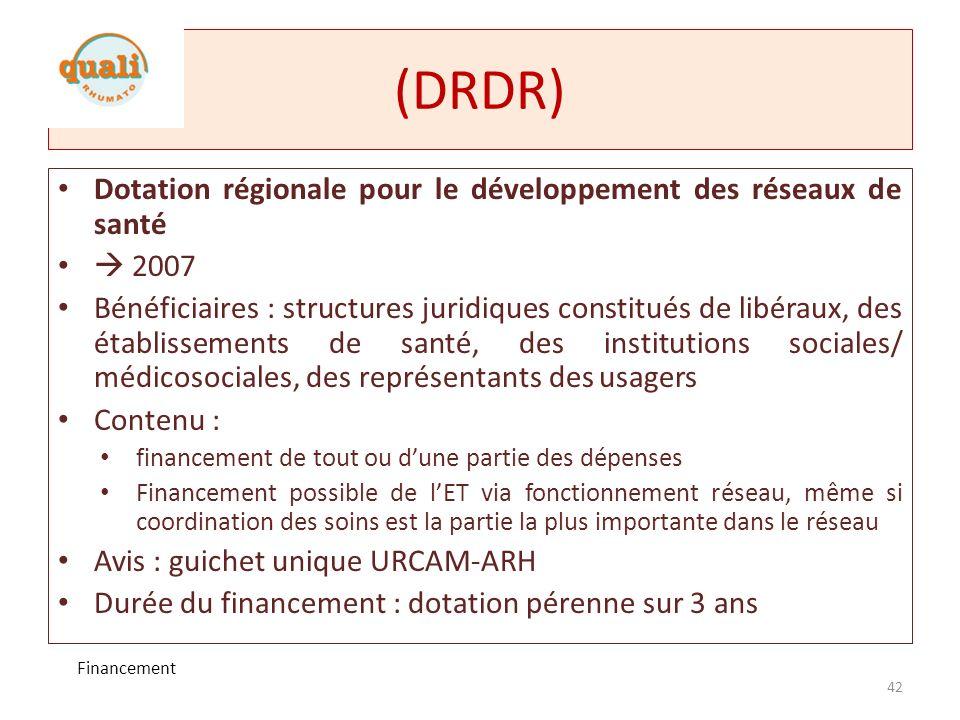 (DRDR) Dotation régionale pour le développement des réseaux de santé