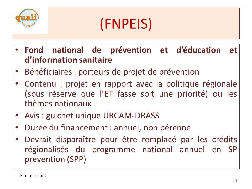 (FNPEIS)Fond national de prévention et d'éducation et d'information sanitaire. Bénéficiaires : porteurs de projet de prévention.