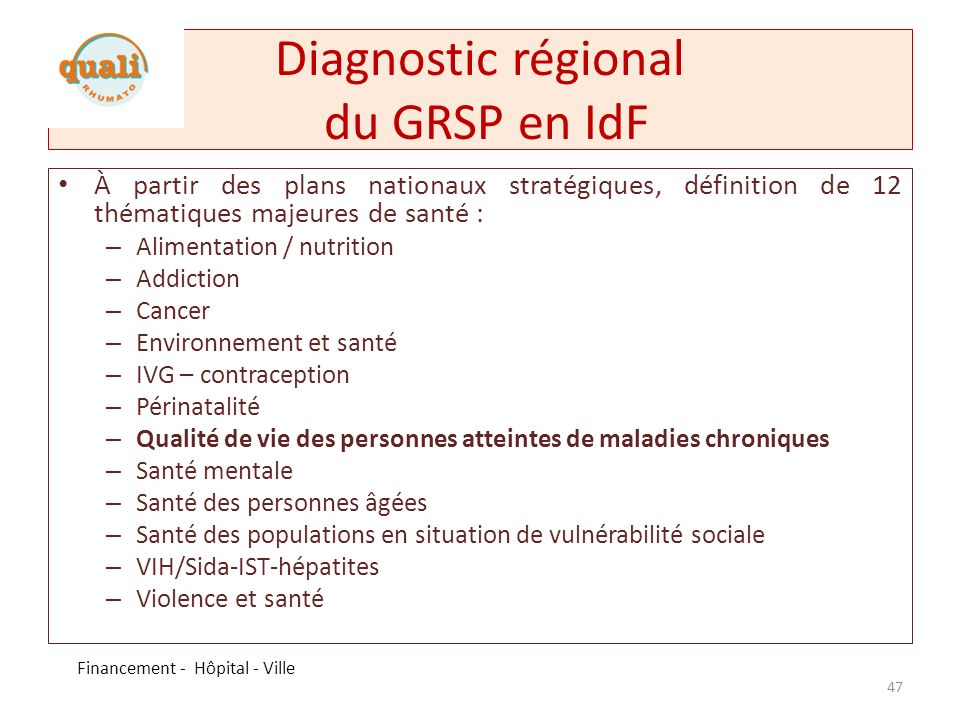 Diagnostic régional du GRSP en IdF