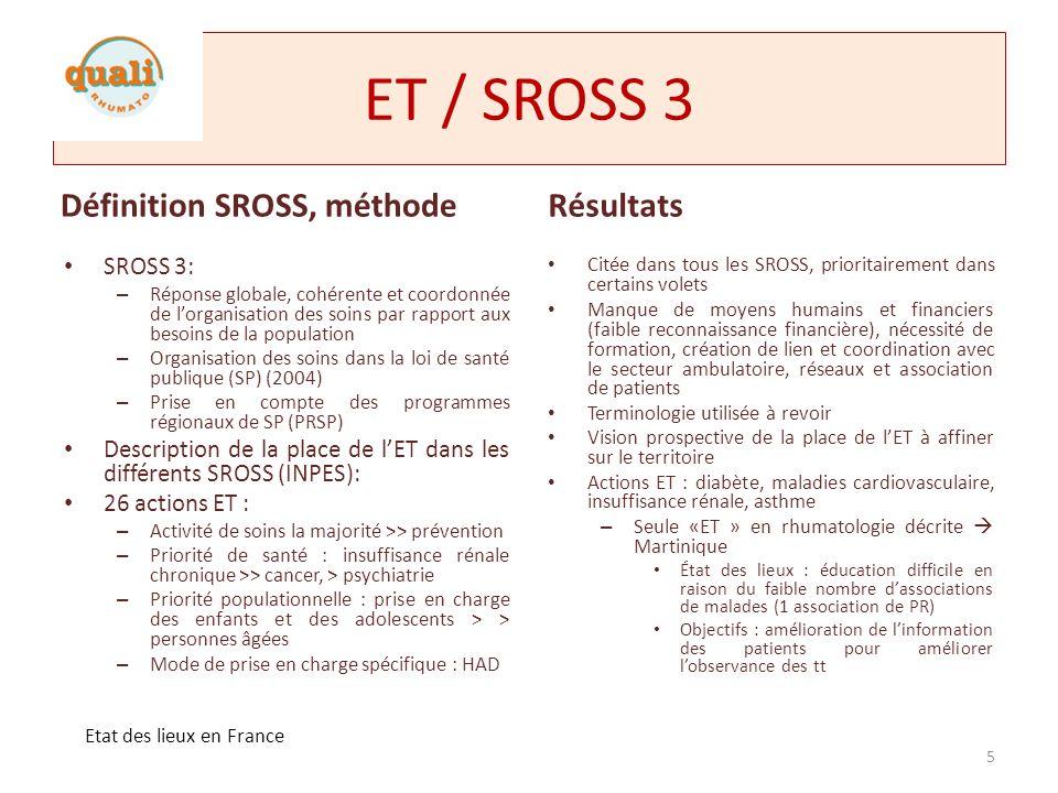 ET / SROSS 3 Définition SROSS, méthode Résultats SROSS 3:
