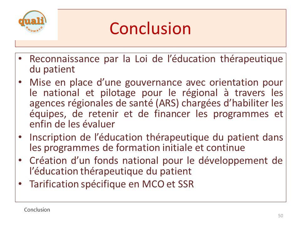 Conclusion Reconnaissance par la Loi de l'éducation thérapeutique du patient.