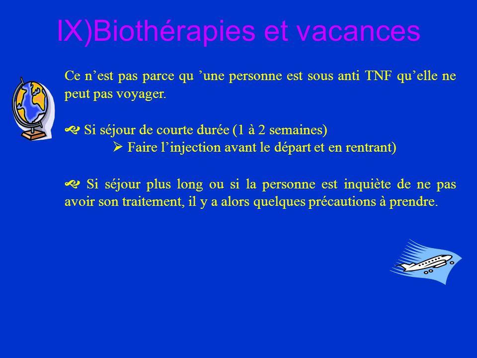 IX)Biothérapies et vacances