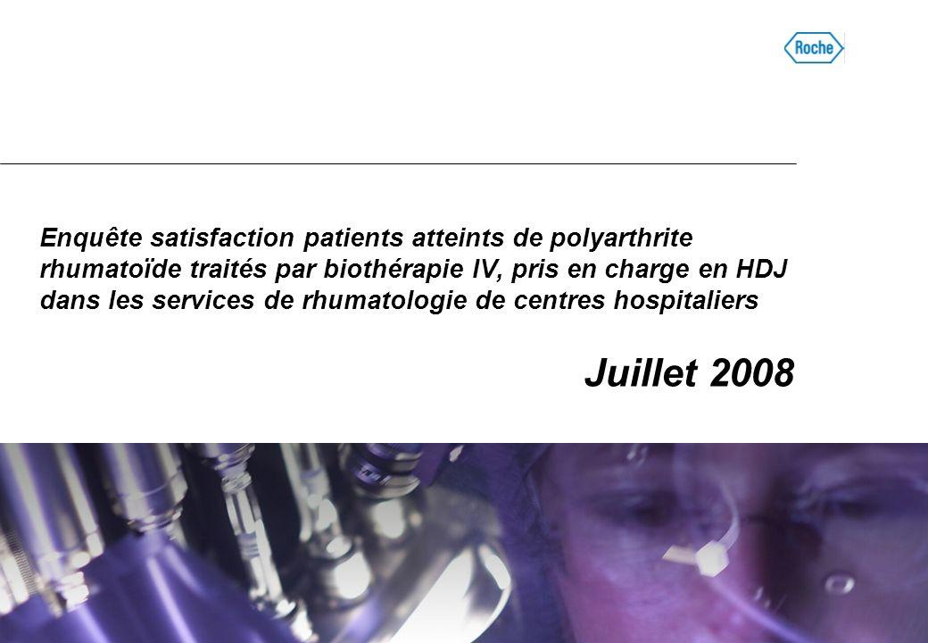 Enquête satisfaction patients atteints de polyarthrite rhumatoïde traités par biothérapie IV, pris en charge en HDJ dans les services de rhumatologie de centres hospitaliers